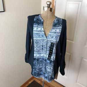 NWT Lucky Brand Blue Burton Front Blouse Top